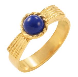 Ring in Silber 925/- goldplattiert mit einem Lapislazuli. Größe 18
