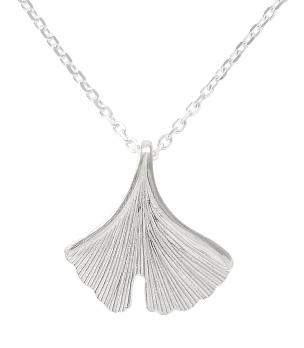 Kette mit Ginkoanhänger in 925- Silber