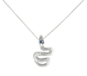 Kette in 925-Silber mit Schlangenanhänger mit Strassstein
