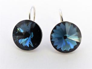 Ohrhänger aus Silber Si925 mit einem Swarovski-Kristall dunkel blau