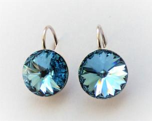 Ohrhänger aus Silber Si925 mit einem Swarovski-Kristall hell blau