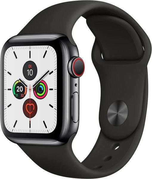 """APPLE Smart Watch """"Watch Series 5"""" (GPS + Cellular, 40 mm, Edelstahlgehäuse, space schwarz/schwarz)"""