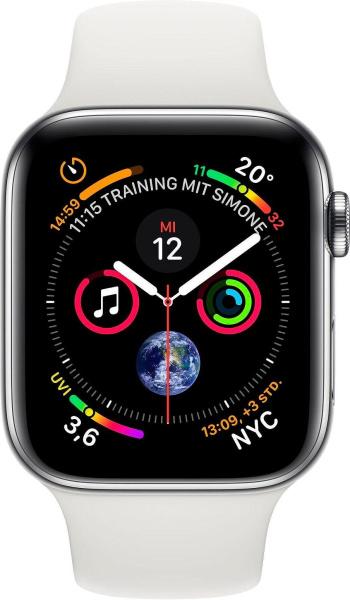 """APPLE Smartwatch """"Series 4"""" (GPS + Cellular, 44mm, Edelstahlgehäuse, Weiß)"""
