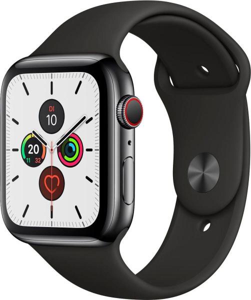 """APPLE Smart Watch """"Watch Series 5"""" (GPS + Cellular, 44 mm, Edelstahlgehäuse, space schwarz/schwarz)"""