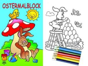 Ostermalblock blau + 6 Buntstiften