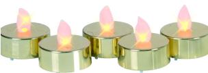 LED-Teelicht 5er-Set gold