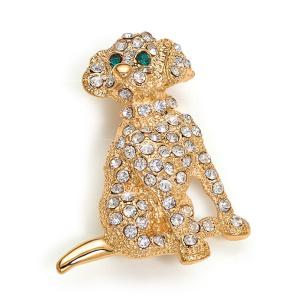 Hunde-Brosche goldfarbig