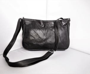 Patchwork-Schultertasche schwarz