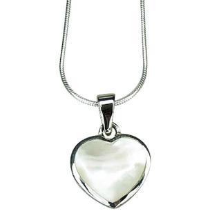 Silberkette Si925 mit Herzanhänger aus Muschel weiß