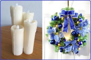 Sparset: Echtwachskerzen mit LEDs 4er-Set + Türkranz blau